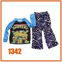 Boys Turtles Pajamas Set Kids Autumn -Summer Clothing Sets New 2014 Wholesale Children Cartoon Cotton Pyjamas J-1342