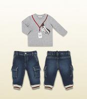 Retail children's winter clothing sets 2pcs long sleeve t shirt + Jeans Pants baby boy kids clothes conjunto de roupa