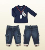 Retail 100% Cotton Baby winter clothing set 2pcs long sleeve t shirt + Jeans Pants baby boy roupas de bebe newborn conjuntos