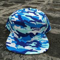 6 panel hybrid snapback cap all over blue camo strapback cap custom blank baseball cap bucket hat