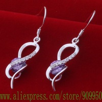 AE594 925 sterling silver earrings , 925 silver fashion jewelry , popular purple stone /bflajwsa ginaozua
