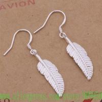 AE417 925 sterling silver earrings , 925 silver fashion jewelry , beautiful Feather /ayqajpxa gbsaosza