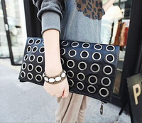 Hot Korean handbags new women party bag clutch evening bag metal rivets bag  767