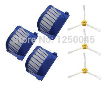 3 Pack Aero Vac Filtros e escova 3 Armados para iRobot Roomba Série 600 620 630 650 660 670 680 Frete Grátis(China (Mainland))