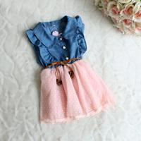 baby girls dress 2014 New fashion  Children clothing brand cotton denim dresses kids summer girl sleeveless princess dress HA005