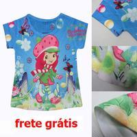 Retail  new 2014 summer children's t-shirts cartoon Girl T-shirt Dora Girls Tops & Tees child kids short sleeve shirts blue Z03