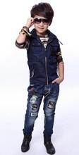 2014 autumn paragraph vest suit Children's fashion piece Korean boy suit camouflage uniforms Children suit(China (Mainland))