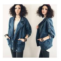 Hot sale new autumn long batwing sleeve loose plus size women casual jacket coat,fashion woman clothes denim jackets casaco