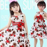 Summer girls dress 2014 casual sleeveless dresses kids clothes floral bow 100% cotton girl dress party princess sundress  A106