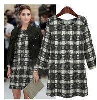 2014 Autumn New Fashion O-Neck Knitting Fleece Long-Sleeve Above-Knee PLAIDS&CHECKS Women Dress in Stock