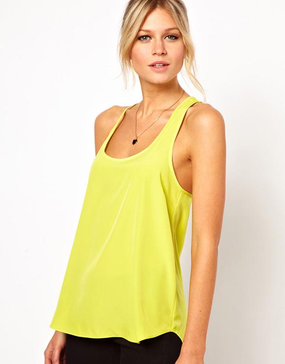 2014 hot sale brand women tops low-cut chiffon tank top vest yellow green top ruffles free shipping(China (Mainland))