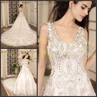 Ultimate luxury crystal wedding dress big train wedding dress bride tube top sweet wedding dress xj56147