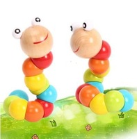 New Baby Toys Children Variety Twist - colored Insects Wooden Toys, Educational Toys free shipping HA0037