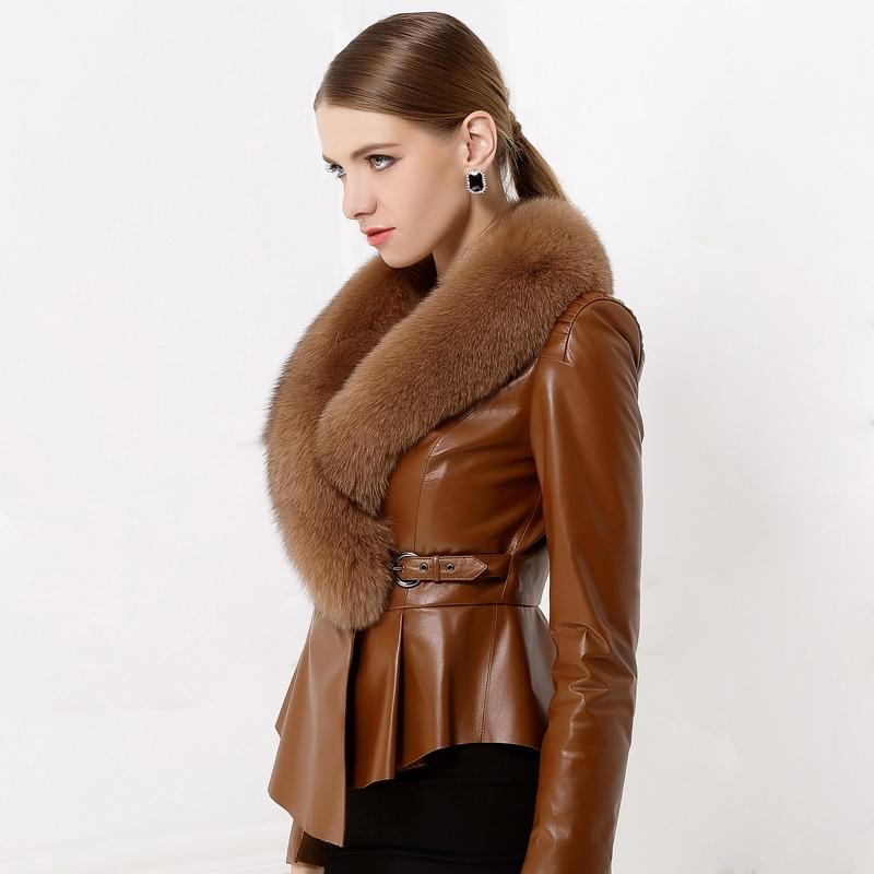 Fur Leather Jacket Womens - Jacket