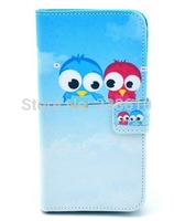 Fashion Sky Blue Two Lovely Birds Magnetic Flip Folio PU Leather Wallet Card Stand Case Cover For Samsung Galaxy S5 mini SM-G800