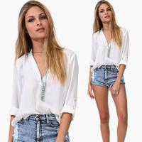 Women blouse plus size casual white shirt ladies sexy V-neck chiffon blouses New 2014