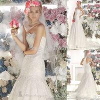 Sweetheart Neckline Drop waist Organza Wedding Dress 2014 Mermaid Beaded Appliques Court Train Floor Length