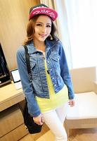 spring 2014 hot sale long sleeve short design women casual denim jacket,slim all-match jaqueta feminina casacos femininos,S-XL
