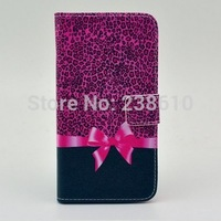Fashion Purple Leopard Bowknot Magnetic Flip Folio PU Leather Wallet Card Stand Case Cover For Samsung Galaxy S5 mini SM-G800