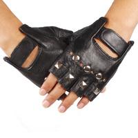 male genuine leather gloves slip-resistant hip-hop gloves sports ride rivet fashion sheepskin gloves