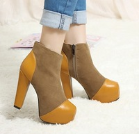 2014 Fall New High-heeled  With Thick Heels Waterproof  Spell Color Female Boots