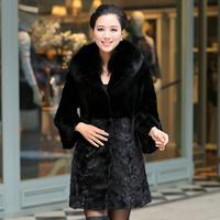 Free shipping 2014 fight mink fur medium-long female rabbit three quarter sleeve slim mink outerwear