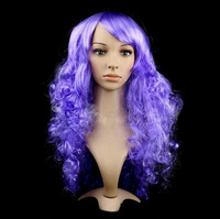 Women's Purple Long Curly Fancy Dress Wigs Cosplay Costume Ladies Full Wig Party