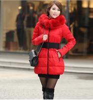 Hot Sale 2014 Lady New arrival Fashion Parkas Women Winter Thick Medium Coat  With Belt Plus size L,XL,XXL,XXXL