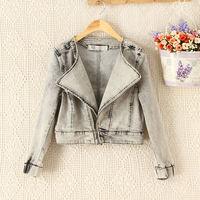 Clearance,brand new desigual 2014 autumn vintage washed Oblique zipper denim jacket women coat,Punk style casacos femininos,HOT