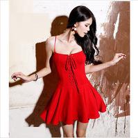 2014 Summer New Red Party Dress Mini Chiffon Bandage fashion Slip strapless Bubble Skirt Sexy Black Cocktail Dress Free shipping
