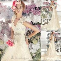 V Neckline 2014 Vestidos Noivas Cap Sleeves Dress Married Bridal Dress With Keyhole Back Crystal