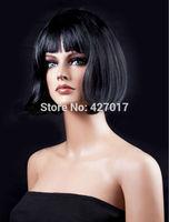 Women's Black Short Bob Cut Fancy Dress Wigs Play Costume Ladies Full Wig Party