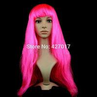 "Ladies 18"" Hot Pink Long Fancy Dress Wigs Straight Cosplay Costume Women Wig"