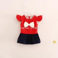 HOT ! Girls autumn cute pearl bow dress , kids clothing , kids dresses for girls , 5pcs/lot    YS32