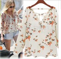 XL Wholesale New 2015 Summer Animal Bird Printed Chiffon Blouses Ladies Blouse Women's Shirts Casual Brand Tops Winter Blusas