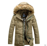 Free shipping ! 2014 brand of high velvet long down jacket male fashion men's warm thick down jacket clearance /M-3XL