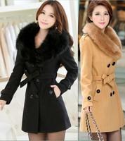 winter coat women 2014 spring wool coat autumn outerwear long jacket slim fashion ladies coats casual jackets large fur collar