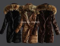 Ladies Down Parka Warm Winter Jacket Coat Fur Collar Hooded Lady Down Jacket Blue Brown Black Long Design Brand Women Down Coat