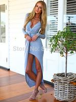 Retail!!!!!!!!!!! 2014 hot  Free shipping Fashion V-neck folds flouncing tight maix dress. Party Dress