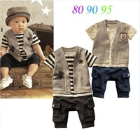 SH003 free shipping retail baby boys romper / baby clothing striped baby sport jumpsuit kids clothes / children clothing