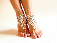 Beach crochet wedding barefoot Sandals,Nude shoes, Foot jewelry,Victorian Lace,Yoga shoes,Bridal anklet,beach accessories