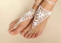 White crochet barefoot sandal,Crochet Anklets,Crochet shoes sandal,Wedding barefoot sandal,Beach bride shoes,Bridesmaid barefoot