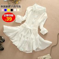 2014 autumn medium-long chiffon shirt long-sleeve shirt female slim basic shirt lace shirt