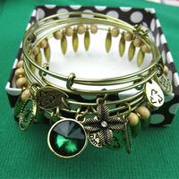 Alex and Ani Style Braclets Bangle Sets (5pcs/set)Golden Party Jewelry Multilayer Rhinestone Flower Charm Bracelets Bangles alex