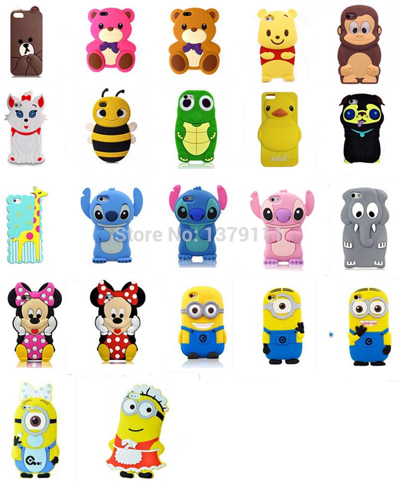 Newest 22 model 3D cartoon animal Monkey/duck/Giraffe/Turtle/Elephant/teddy/winnie/bear soft silicone case cover For Iphone 5 5s(China (Mainland))