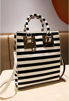 women's fashion handbag shoulder bag,black with white   3016