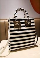 women's fashion handbag shoulder bag,black with white   3016