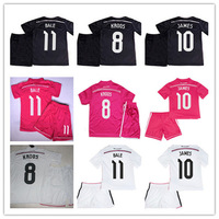 14 15 Real Madrid Kids Home white Soccer jersey with shorts set,2015 JAMES BALE KROOS RONALDO Youth t-shirt Football uniform kit