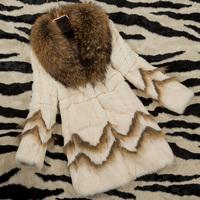 free shipping EMS 2014 fur female rabbit fur raccoon fur collar medium-long outerwear
