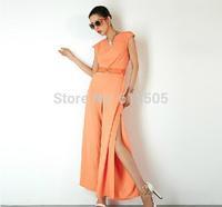high quality one piece pants free shipping 2014 summer fall women jumpsuit S/M/L new retro elegant sleeveless macacao feminino